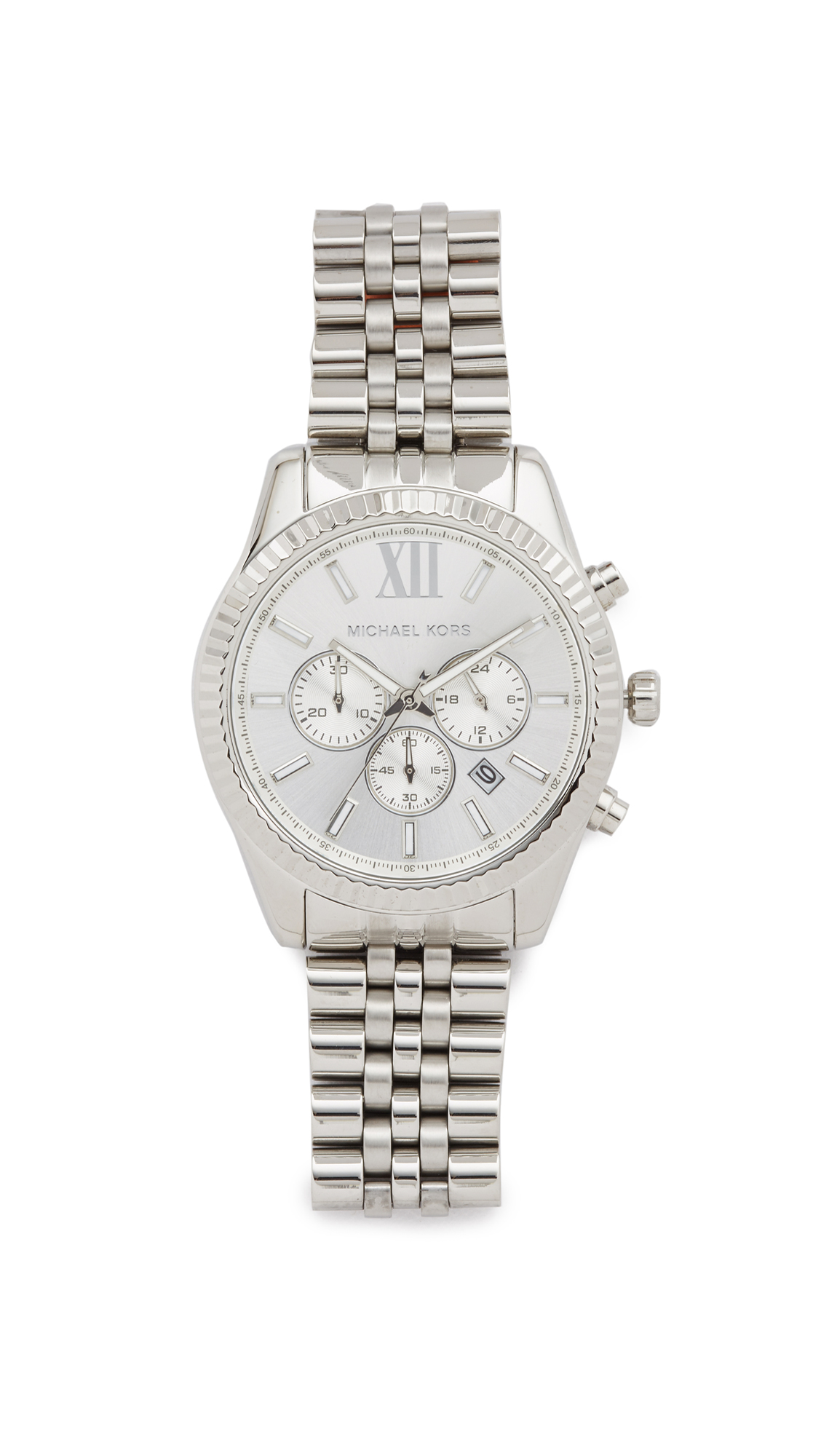 Michael Kors Lexington Chronograph Watch In Stainless Steel