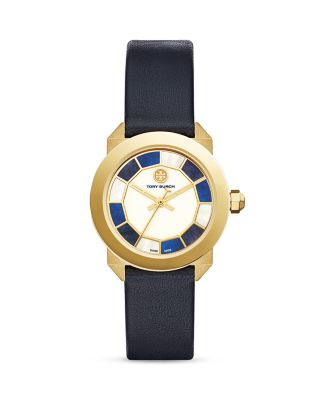 Tory Burch Whitney Deco Leather Strap Watch, 36mm In Multi/navy