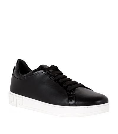 Versace Crocodile Embossed Low-top Sneakers In Black