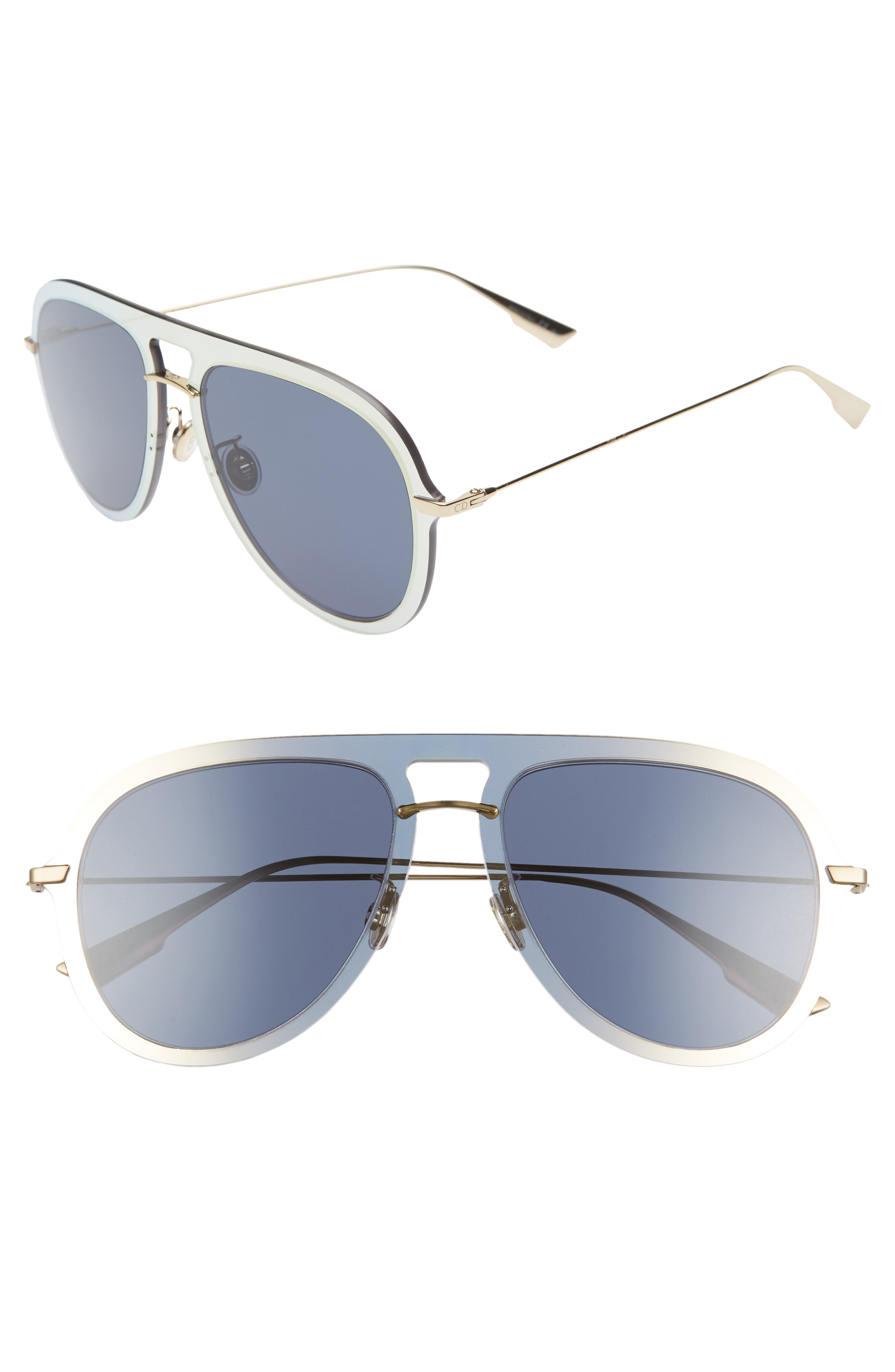 99d80004e46 Dior Ultime1 57Mm Aviator Sunglasses - Gold  Blue