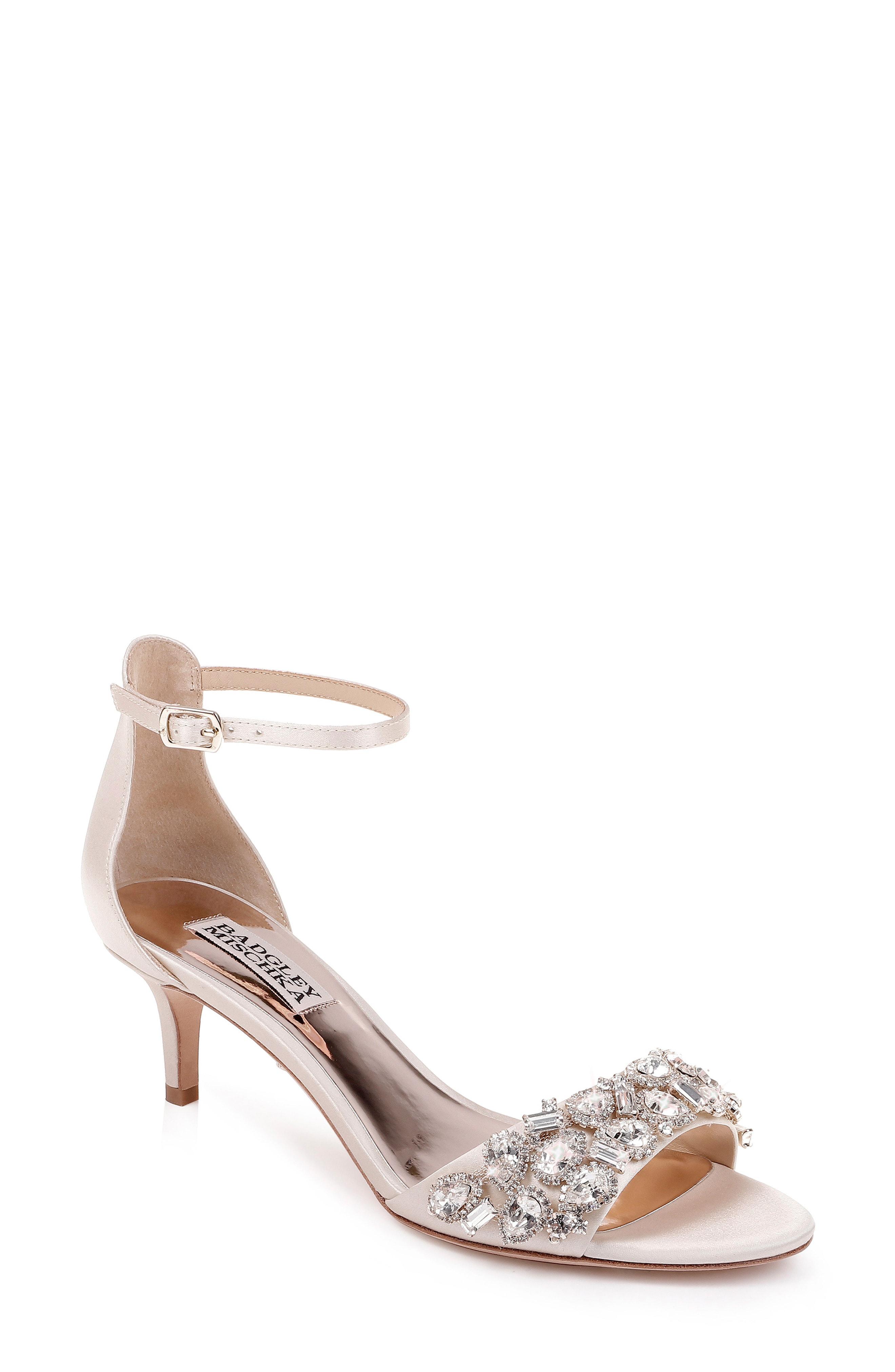 1004f9ad1 Badgley Mischka Women s Lara Embellished Kitten Heel Sandals In Ivory Satin