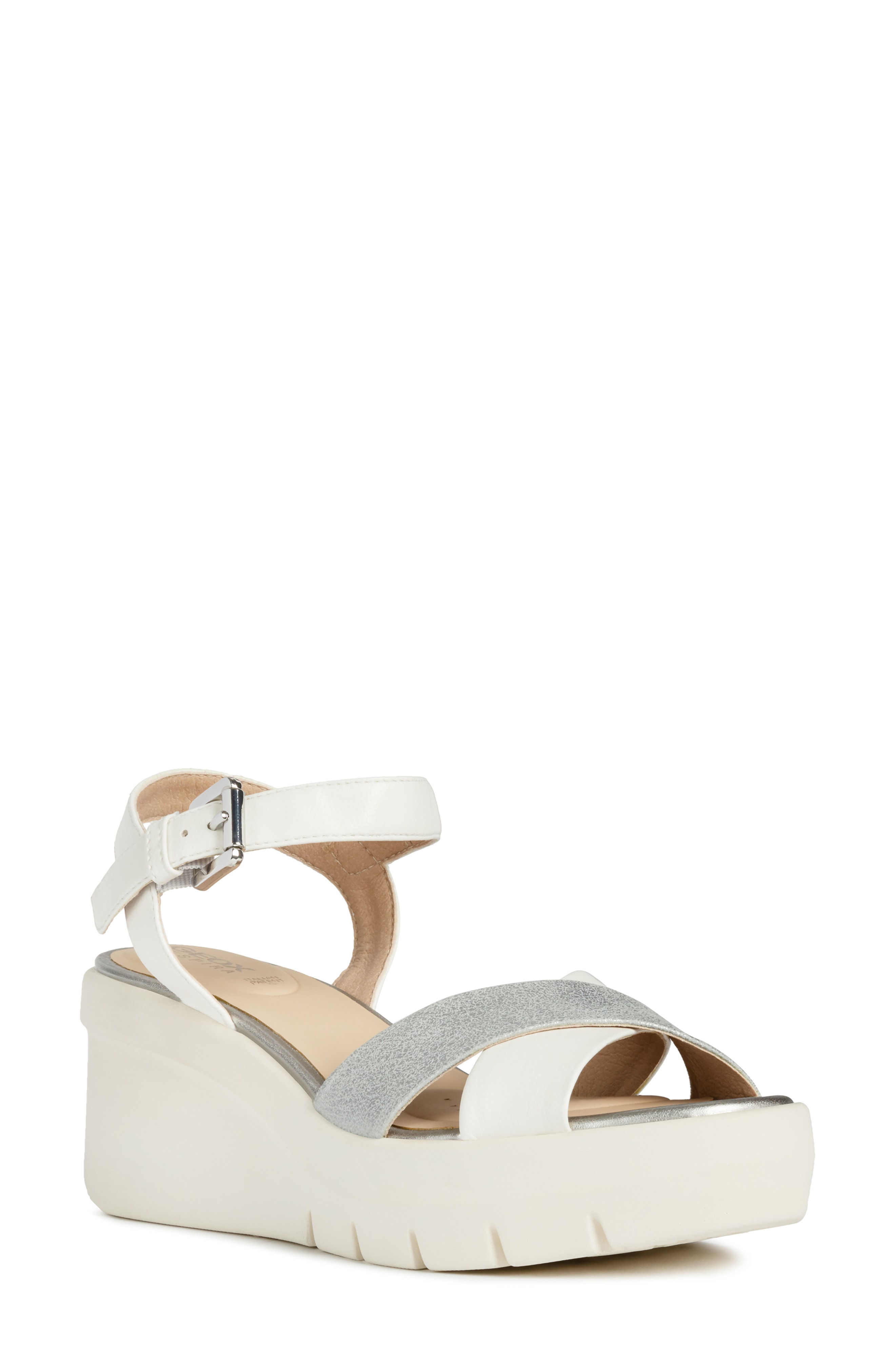 94898e36699 Geox Torrence Platform Sandal In White  Silver Faux Leather