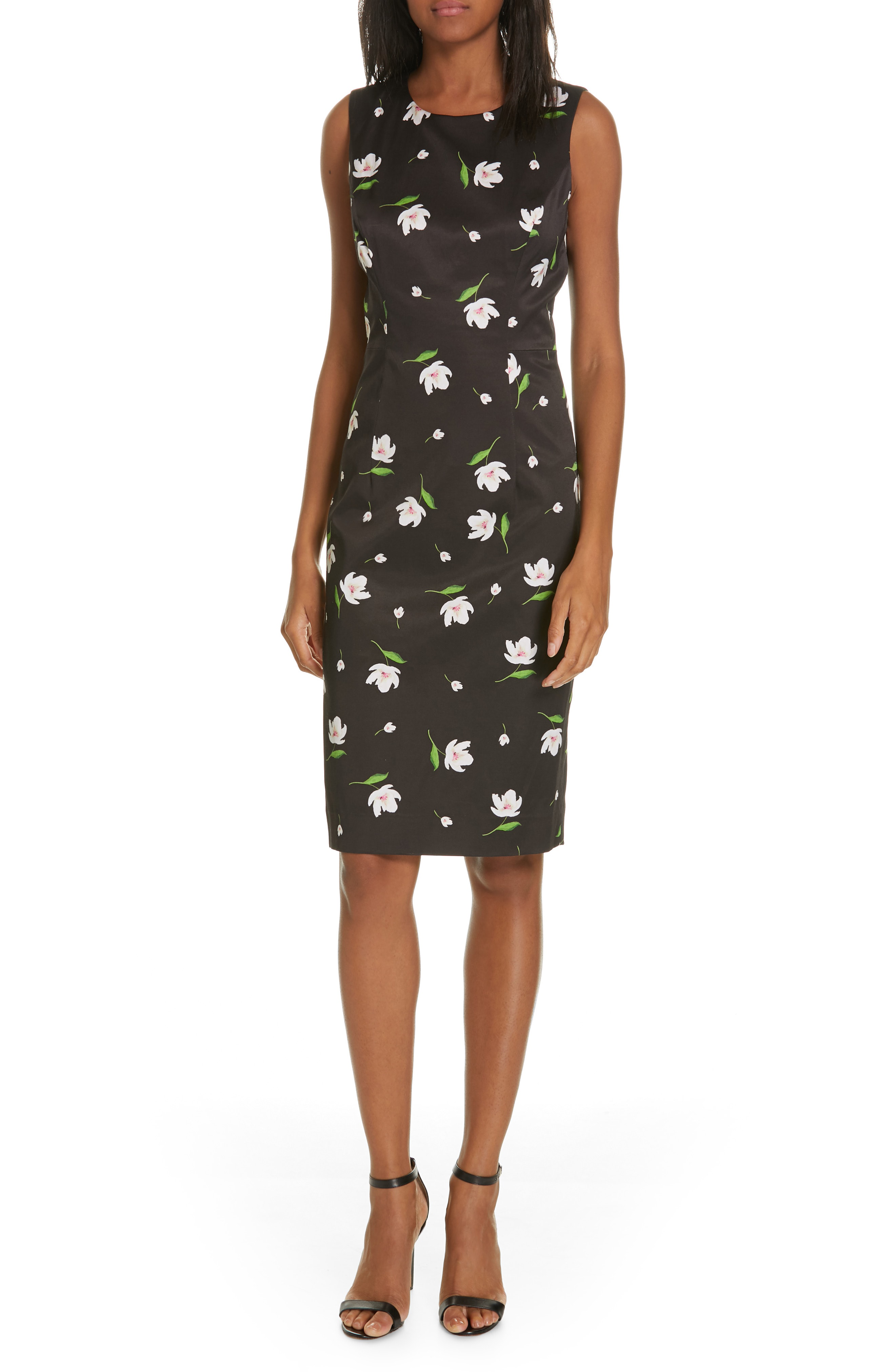 39f4c9392a1 Milly Kendra Floral Print Sheath Dress In Black  White