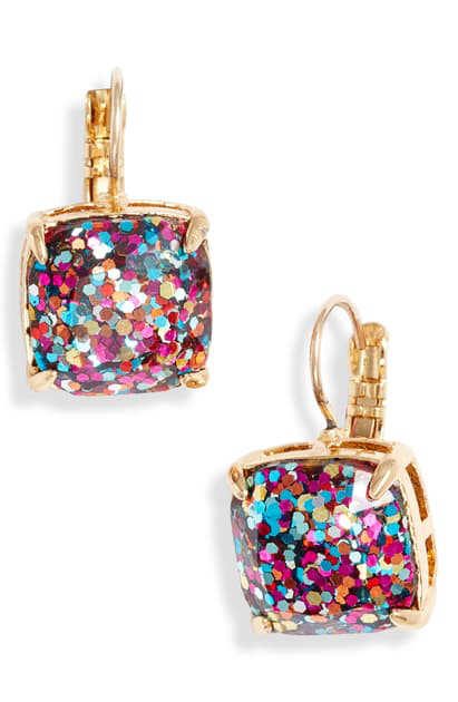 Kate Spade Small Square Lever Back Earrings In Multi/ Glitter