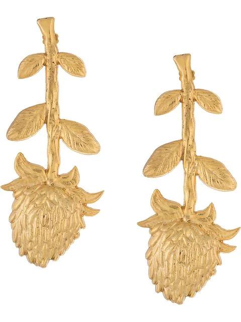 Natia X Lako Long Flower Earrings In Gold