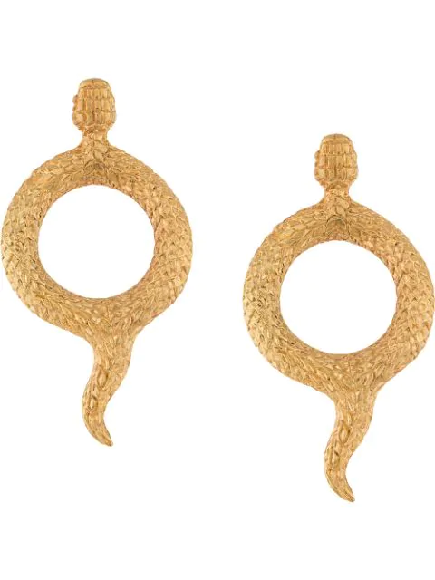 Natia X Lako Round Snake Earrings In Gold