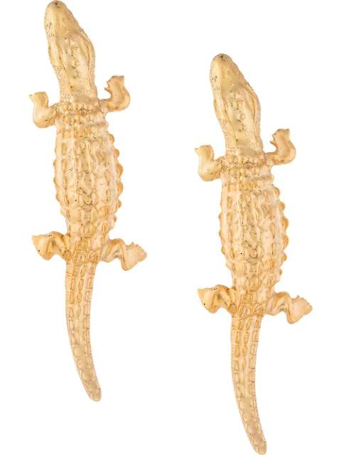 Natia X Lako Long Lizard Earrings In Gold