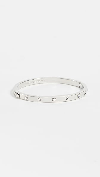 Kate Spade Women's Set In Stone Rhodium-plated Hinged Bangle In Clear/silver