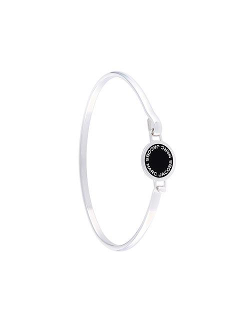 Marc Jacobs Enamel Logo Disc Hinge Bracelet In Black