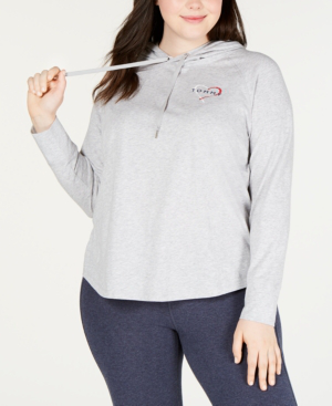 6571e13c Tommy Hilfiger Sport Plus Size Logo-Print Hooded Top In Dove Heather ...