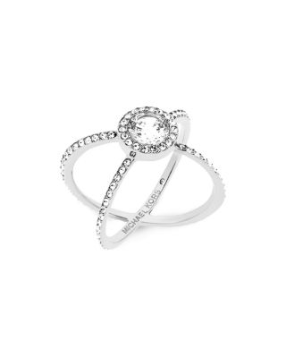 Michael Kors Modern Brilliance Crystal Double-band Ring/silvertone
