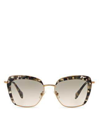 Miu Miu 52qs Square Sunglasses, 53mm In Gold/brown Gradient