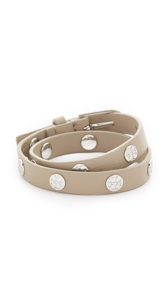 Tory Burch Leather Logo-stud Double-wrap Bracelet In French Gray/tory Silver