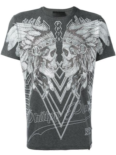 Philipp Plein Dramatic Embellished Skulls T-shirt In Grey