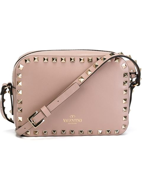 Valentino Rockstud Leather Cross-Body Bag In Poudre