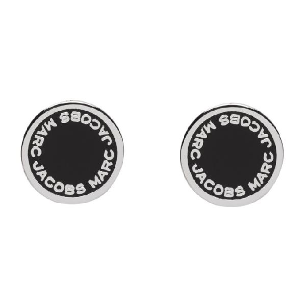 Marc Jacobs Enamel Logo Disc Stud Earrings In 068 Blk/Arg