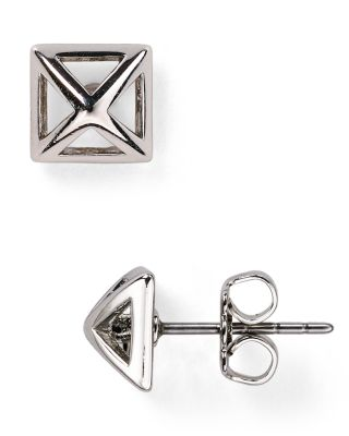Rebecca Minkoff Pyramid Cut-out Stud Earrings In Immitation