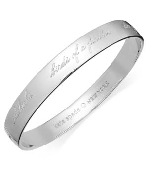 Kate Spade Bridesmaid Engraved Idiom Bangle Bracelet In Silver-tone