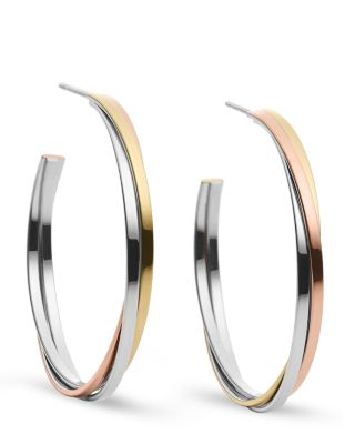Michael Kors Tri-tone Whisper Hoop Earrings