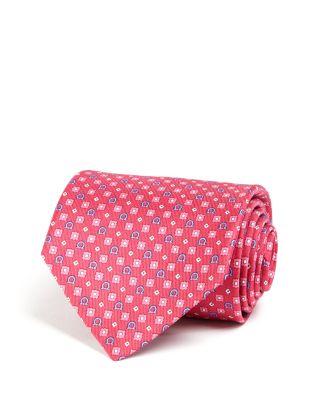 Salvatore Ferragamo Gancini Square Diamond Neat Classic Tie In Pink