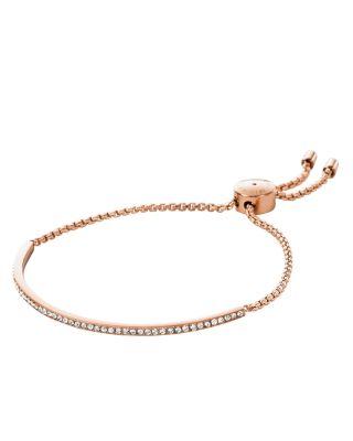 Michael Kors Crystal Skinny Bracelet In Rose Gold