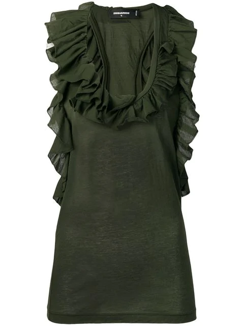 Dsquared2 Ruffle Neck Blouse In Green