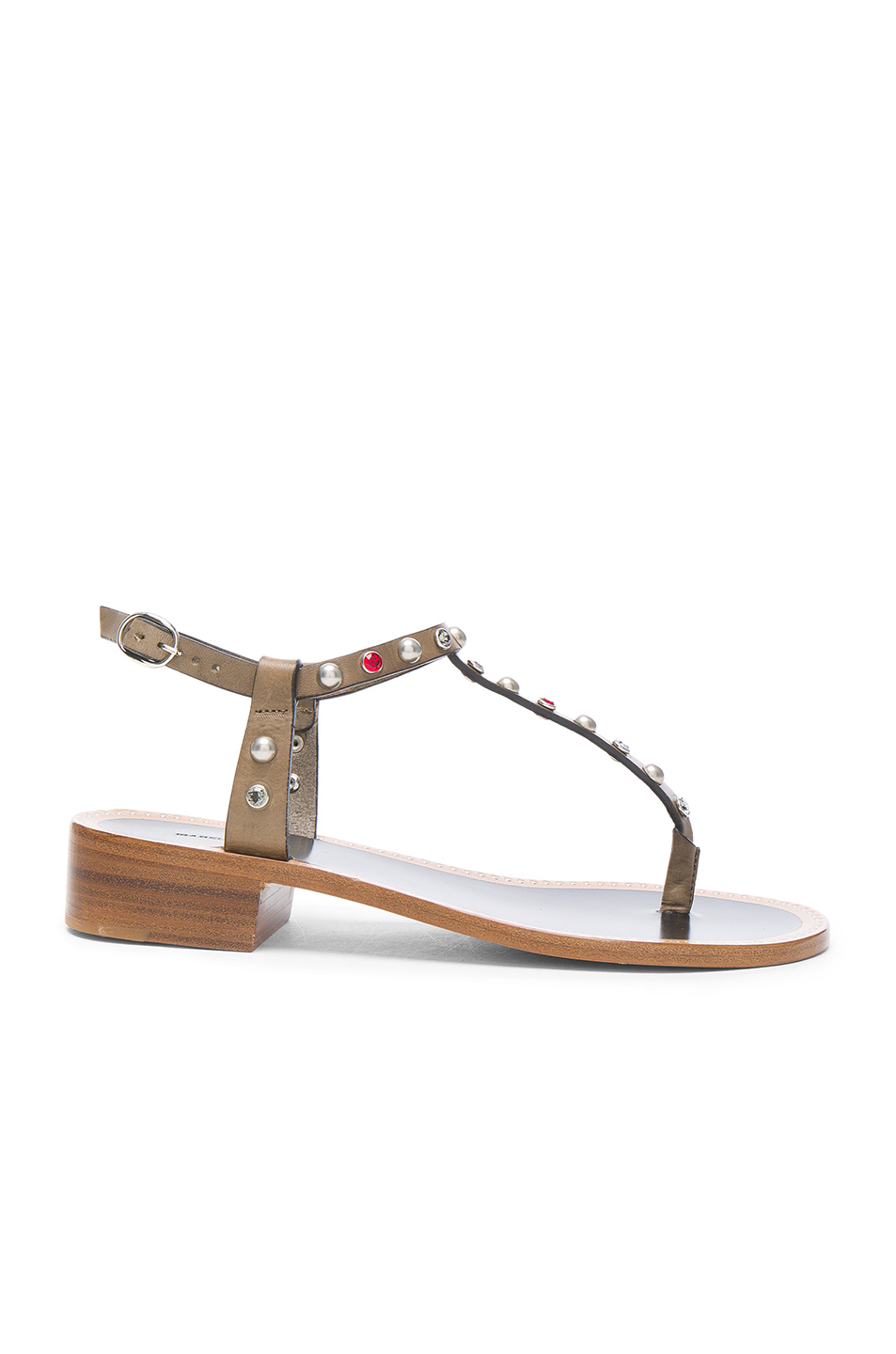 Isabel Marant Aelith Studded Thong Sandal, Natural In Bronze