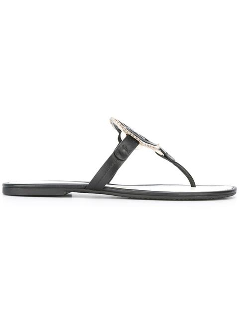 Tory Burch 'miller' Colourblock Logo Leather Thong Sandals In Navy Sea / Brilli