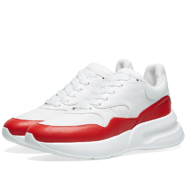 Alexander Mcqueen Red And Grey Runner Leather And Suede Sneakers