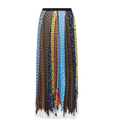 Mary Katrantzou Uni Pleated Tie-print Skirt In Ties Animal