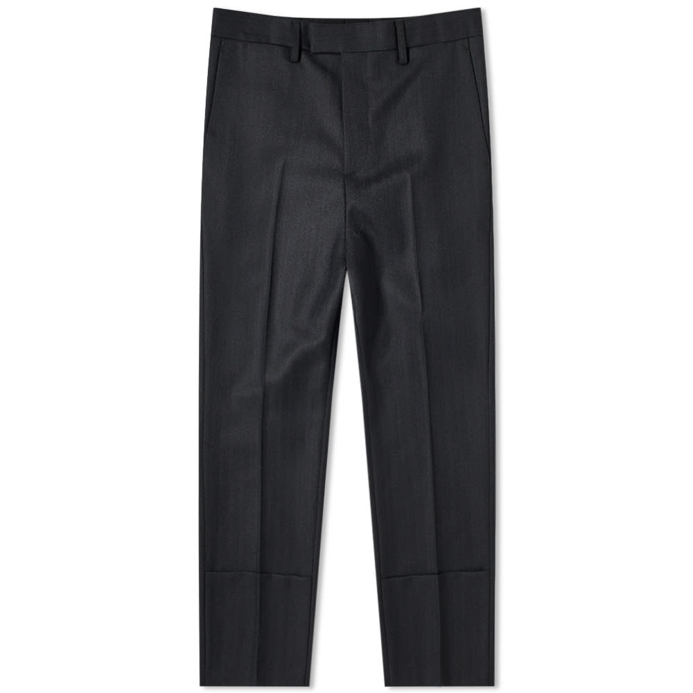 Raf Simons Slim Fit Turn Up Trouser In Black