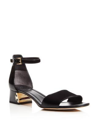 Tory Burch Finley Patent Leather Logo Block Heel Sandals In Black