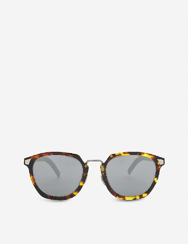 Dior Tailoring 1 Square-frame Tortoiseshell Mirror Lens Sunglasses In Yellow Red