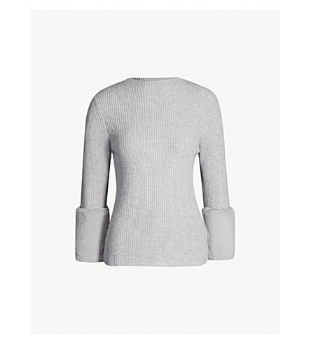 Ted Baker Faux Fur-Cuff Wool-Blend Jumper In Grey