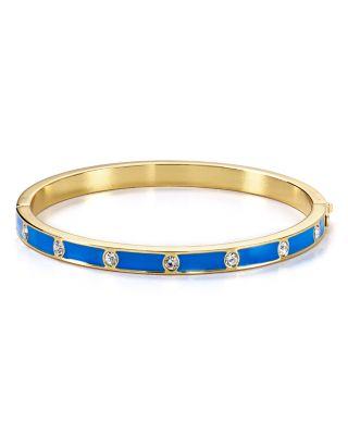 Kate Spade Crystal & Enamel Hinge Bangle In Clear/blue