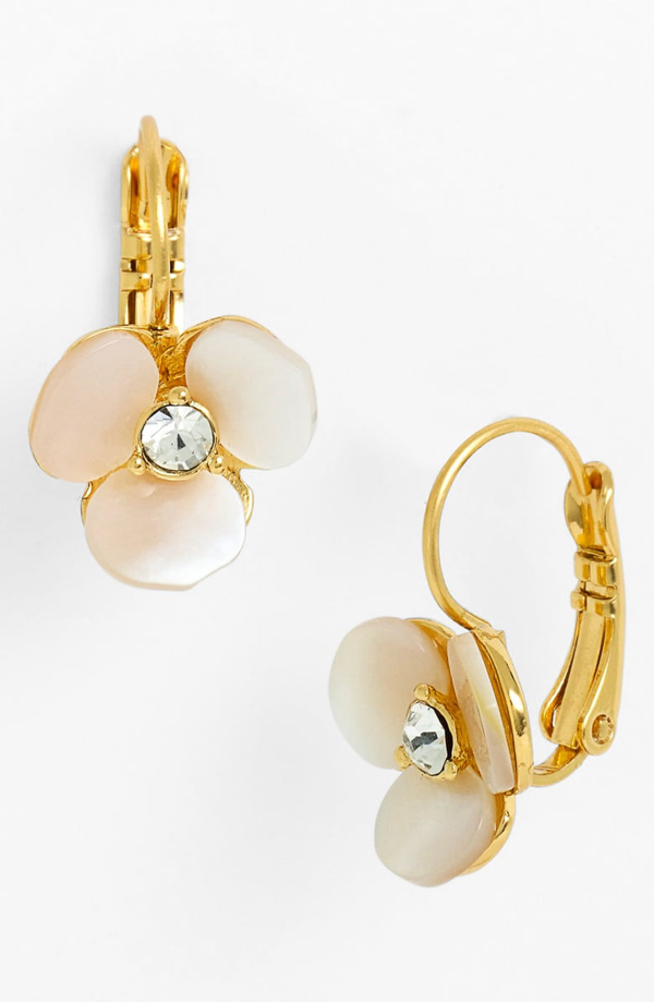 Kate Spade Women's Disco Pansy Mother-of-pearl Leverback Earrings In Cream