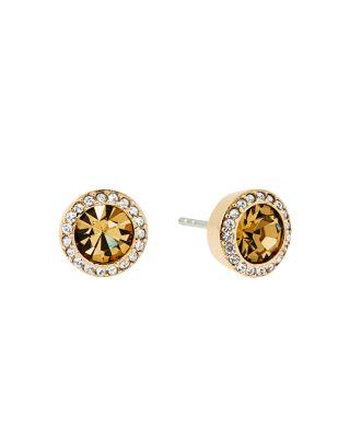 Michael Kors Pave Stud Earrings In Gold