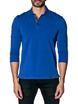 Jared Lang Long-sleeve Ribbed Polo In Blue