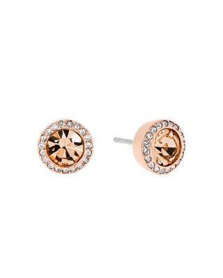 Michael Kors Pave Stud Earrings In Rose Gold