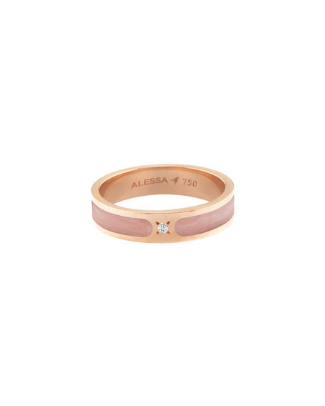 afe81c40608 Alessa Jewelry Spectrum Painted 18K Rose Gold Stack Ring W/ Diamond, Pink