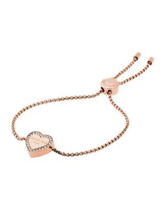 Michael Kors Logo Heart Station Bracelet, Rose Golden