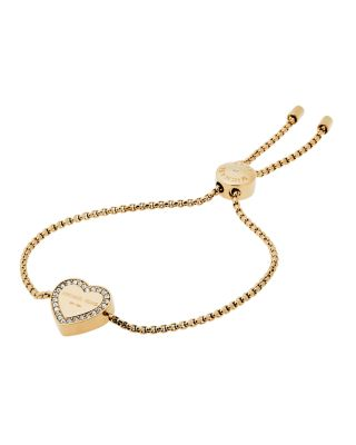 Michael Kors Logo Heart Station Bracelet, Yellow Golden