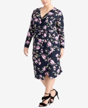 ddedd0bf41b Trendy Plus Size Floral Midi Dress in True Navy