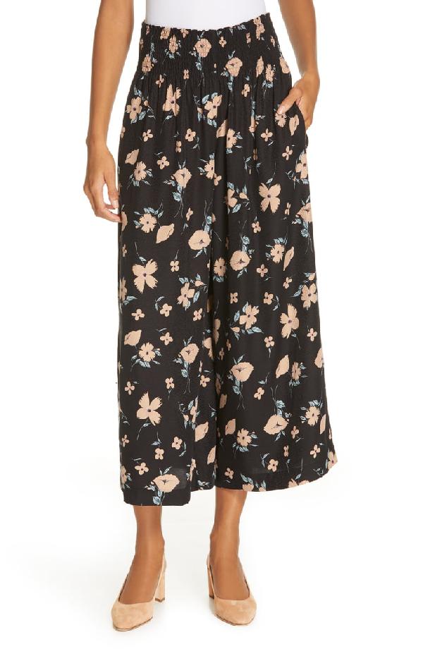 Rebecca Taylor Daniella Floral-Print Smock-Waist Wide-Leg Pants In Black Combo