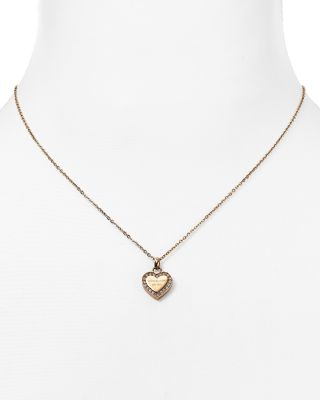 Michael Kors Heart Pendant Necklace, 16 In Rose Gold