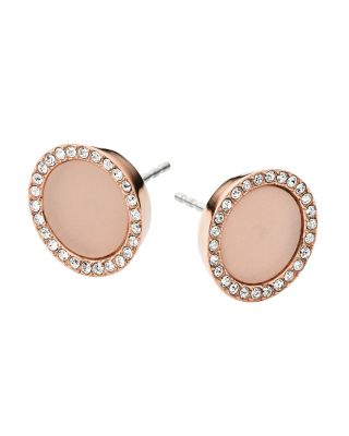 Michael Kors Heritage Rose Gold Stud Earrings W/crystals In Blush/rose Gold