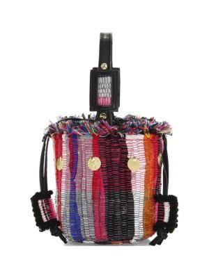 Kooreloo Cupcake Woven Striped Bucket Bag In Multi
