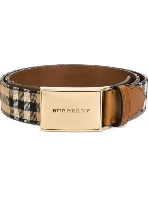 Burberry Charles Horseferry Check Belt In Brown