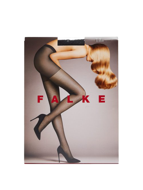 Falke - Light Point Silver Lurex 3D Knit Fishnet Tights - Womens - Black Multi