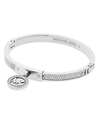 Michael Kors Fulton Hinge Bangle In Silver
